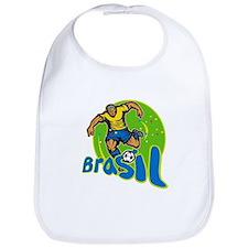 Brazil Football Player Kicking Ball Retro Bib