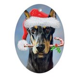Doberman christmas Oval Ornaments