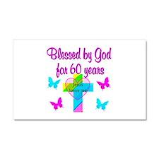 GOD LOVING 60TH Car Magnet 20 x 12
