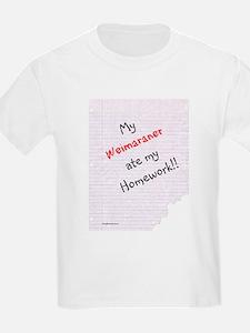 Weimaraner Homework T-Shirt