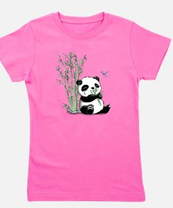 Panda Eating Bamboo Girl's Tee