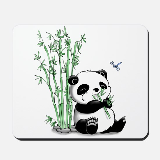 Panda Eating Bamboo Mousepad