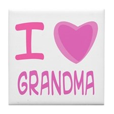 Pink I Heart (Love) Grandma Tile Coaster