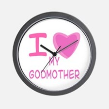 Pink I Heart (Love) Godmother Wall Clock