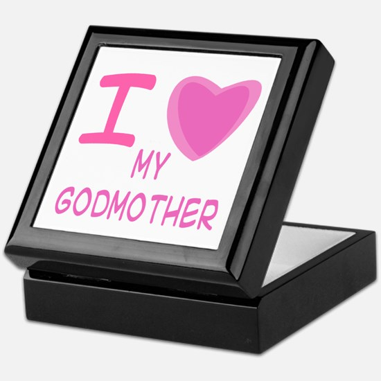 Pink I Heart (Love) Godmother Keepsake Box
