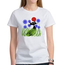 whimsical cat blue flowers DUVET Tee