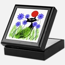 whimsical cat blue flowers DUVET Keepsake Box
