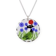 whimsical cat blue flowers D Necklace