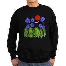 whimsical cat blue flowers DUVET Jumper Sweater