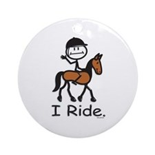 English Horse Riding Ornament (Round)