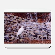 WHITE BIRD AND PEBBLES MOUSEPAD