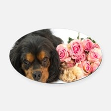 Black Cavalier King Charles  With  Oval Car Magnet