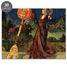 Vintage Halloween Dancing Witch Puzzle