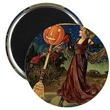 Vintage Halloween Dancing Witch Magnet