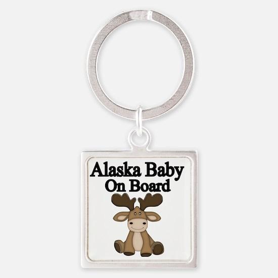 Alaska Baby On Board Square Keychain