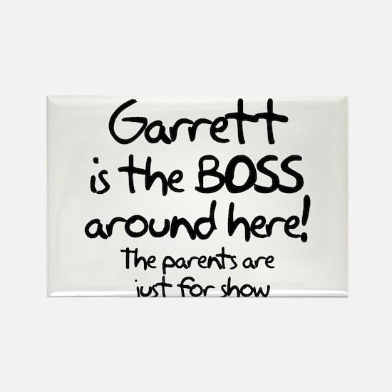 Garrett is the Boss Rectangle Magnet
