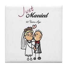 Just Married 40 years ago Tile Coaster