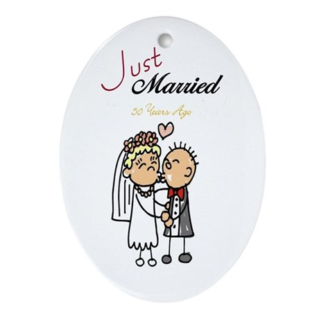 Just Married 50 years ago Oval Ornament