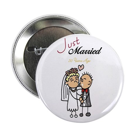 """Just Married 50 years ago 2.25"""" Button (10 pack)"""