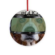 Basset Hound Police Round Ornament
