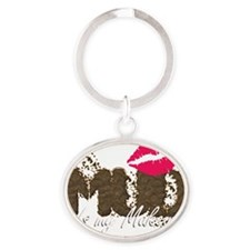 Mud is My Makeup_black Oval Keychain