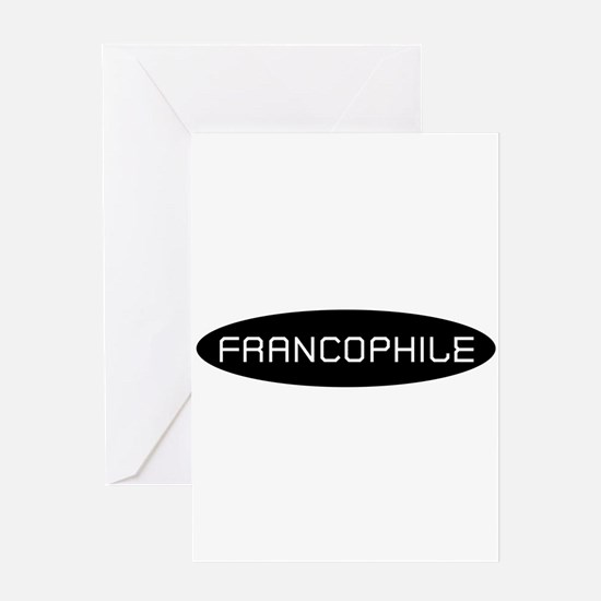 Francophile White on Black Greeting Card