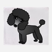Cute Poodle Black Coat Throw Blanket