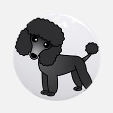 Cute Poodle Black Coat Round Ornament