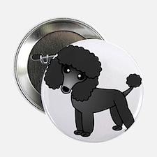 """Cute Poodle Black Coat 2.25"""" Button"""