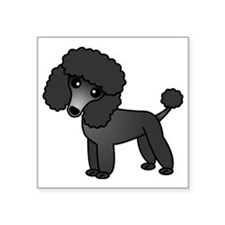 "Cute Poodle Black Coat Square Sticker 3"" x 3"""