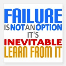 """Failure Not Option Learn Square Car Magnet 3"""" x 3"""""""