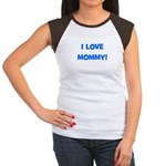 I Love Mommy (blue) Women's Cap Sleeve T-Shirt