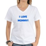 I Love Mommy (blue) Women's V-Neck T-Shirt