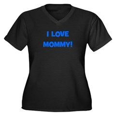 I Love Mommy (blue) Women's Plus Size V-Neck Dark