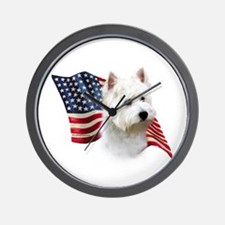 Westie Flag Wall Clock