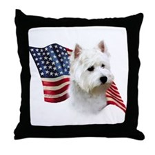 Westie Flag Throw Pillow
