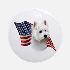 Westie Flag Ornament (Round)