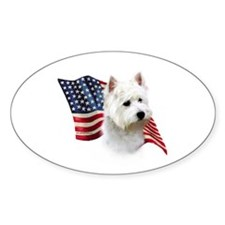 Westie Flag Oval Decal