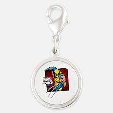 Wolverine Square Silver Round Charm