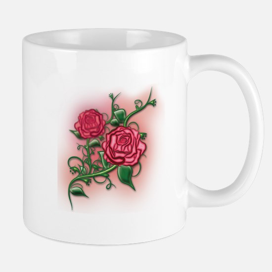 Pink Rose Vine Mugs