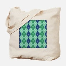 Blue and Green Argyle Tote Bag