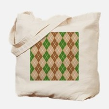 Brown and Green Argyle Tote Bag