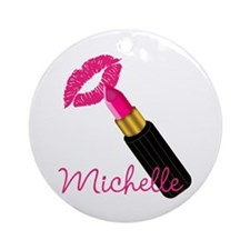 Hot Pink Lips n Lipstick Name Ornament (Round)