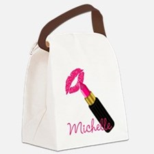 Hot Pink Lips n Lipstick Name Canvas Lunch Bag