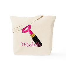 Hot Pink Lips n Lipstick Name Tote Bag