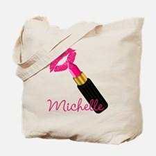 Hot Pink Lips n Lipstick Name Tote Bag