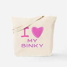 Pink I Heart (Love) My Binky Tote Bag