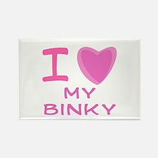 Pink I Heart (Love) My Binky Rectangle Magnet
