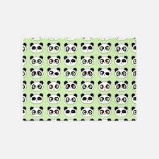 Cute Panda Expressions Pattern 5'x7'Area Rug