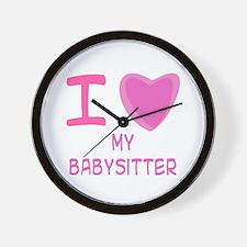 Pink I Heart (Love) My Babysitter Wall Clock